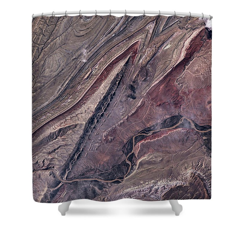 Photography Shower Curtain featuring the photograph Satellite View Of Big Horn, Wyoming, Usa by Panoramic Images