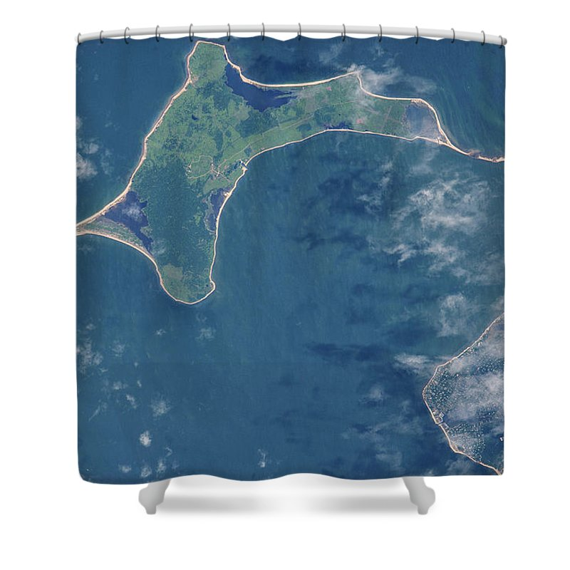 Photography Shower Curtain Featuring The Photograph Satellite View Of Gardiners Island By Panoramic Images