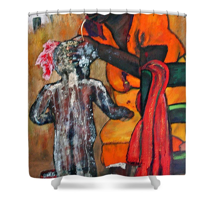 Mom Bathing Boy Shower Curtain featuring the painting Saturday Night Bath by Peggy Blood