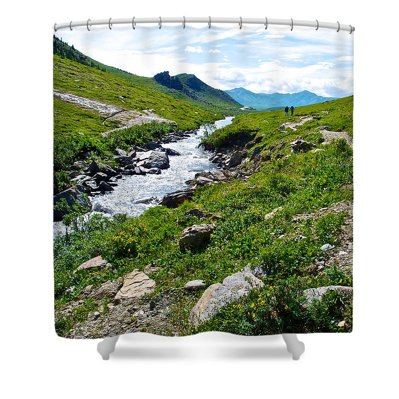 Savage River From Savage River Trail In Denali Np Shower Curtain featuring the photograph Savage River From Savage River Trail In Denali Np-ak  by Ruth Hager