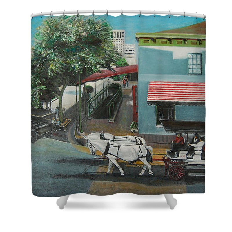 Shower Curtain featuring the painting Savannah City Market by Jude Darrien