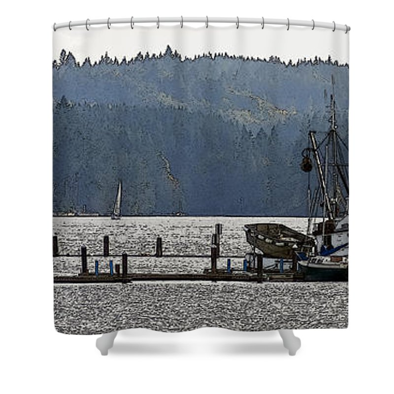 Sailboats Shower Curtain featuring the photograph Savannah Jean On Liberty Bay by Greg Reed