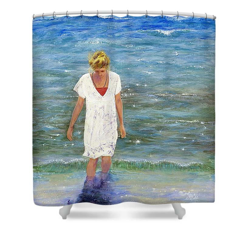 Seascape Shower Curtain featuring the painting Savoring The Sea by Margaret Bobb