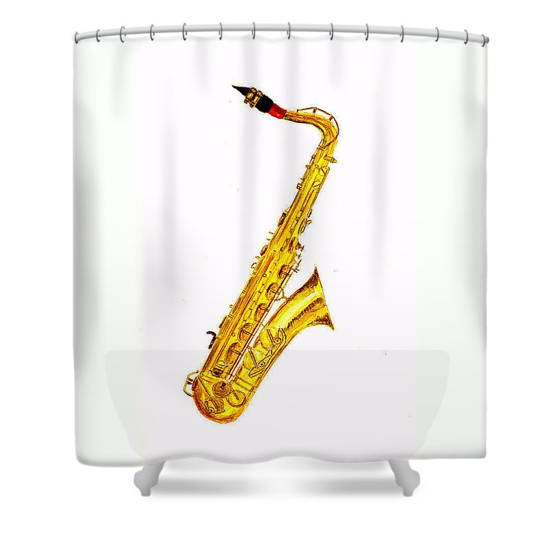 Saxophone Shower Curtain featuring the painting Saxophone by Michael Vigliotti