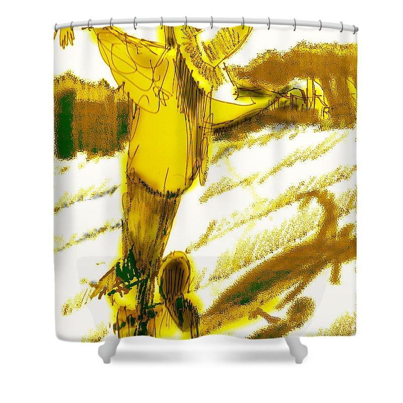 Scarecrow Babysitter Shower Curtain featuring the digital art Scarecrow Babysitter by Seth Weaver