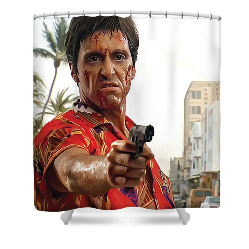 Scarface Paintings Shower Curtain Featuring The Painting Artwork 2 By Sheraz A