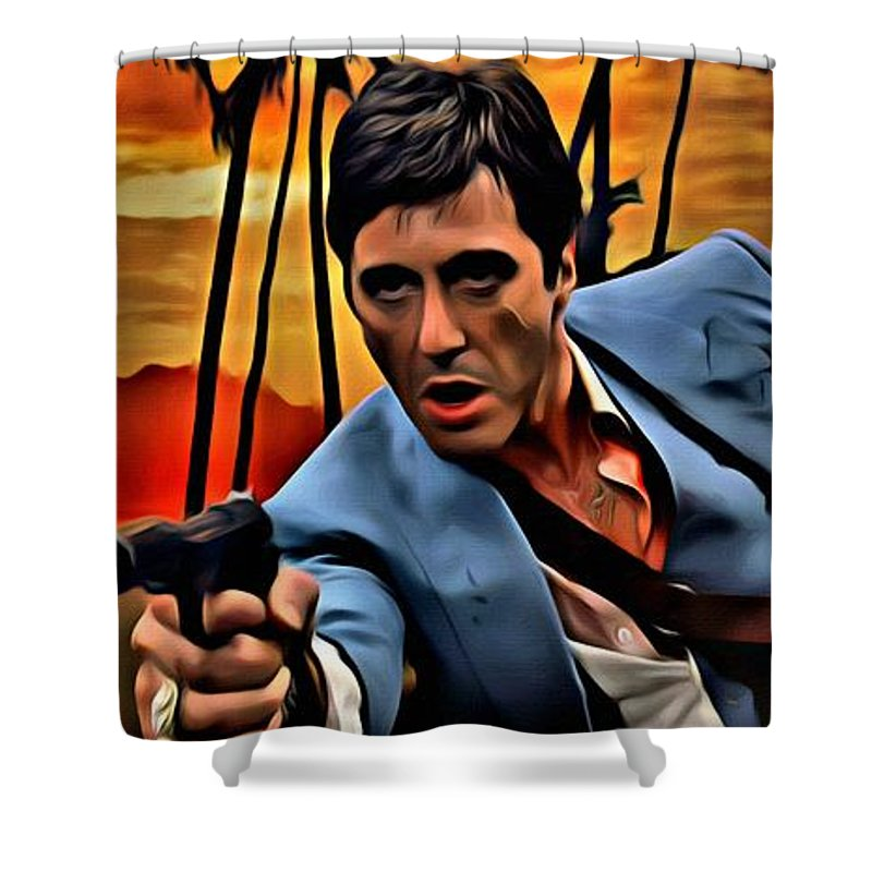 Scarface Shower Curtain Featuring The Painting By Florian Rodarte