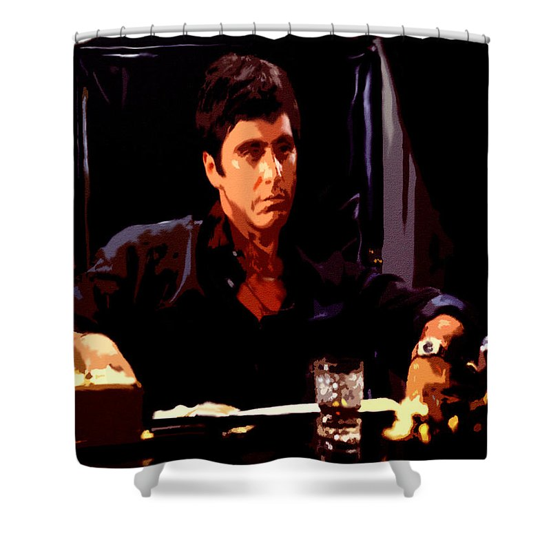 Scarface Shower Curtain Featuring The Painting II By Brian Reaves