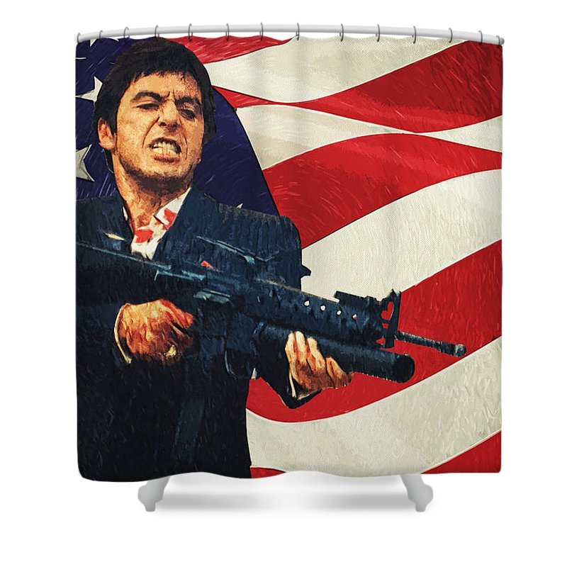 Scarface Shower Curtain Featuring The Digital Art By Zapista