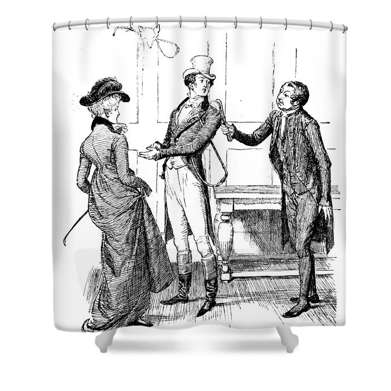 Obsequious Civility; Illustration; Pride And Prejudice; Jane Austen; Mr; Collins; Attentions; Mr; Darcy; Elizabeth Bennet; Bennett; Fawning; Sycophantic; Clergyman; Clergy; Vicar; Georgian; Regency; Costume; Riding Gear; Lovers; Couple; Character Shower Curtain featuring the drawing Scene From Pride And Prejudice By Jane Austen by Hugh Thomson