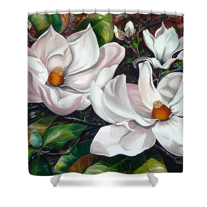 Magnolia Painting Flower Painting Botanical Painting Floral Painting Botanical Bloom Magnolia Flower White Flower Greeting Card Painting Shower Curtain featuring the painting Scent Of The South. by Karin Dawn Kelshall- Best