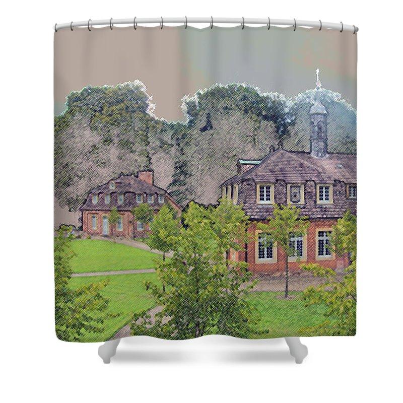 Emslandmuseum Shower Curtain featuring the photograph 10290 Schloss Clemenswerth 10 by Colin Hunt