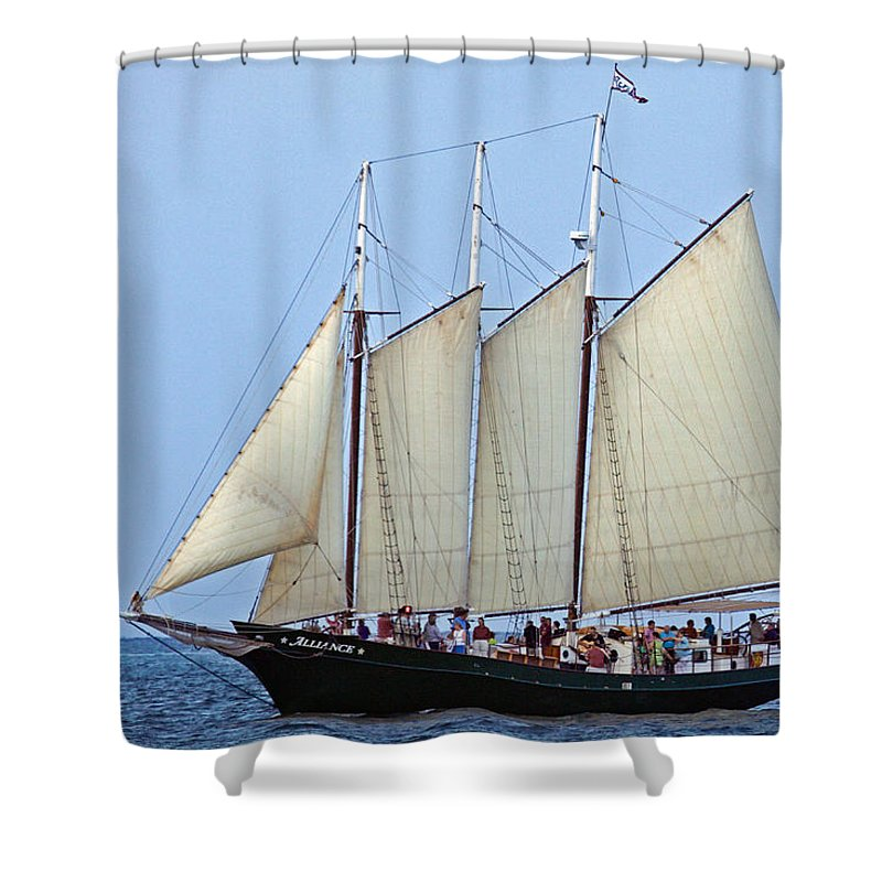 Alliance Shower Curtain featuring the photograph Schooner Alliance by Jerry Gammon