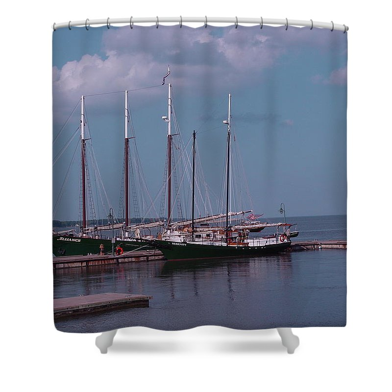 Sailing Shower Curtain featuring the digital art Schooners by Barkley Simpson