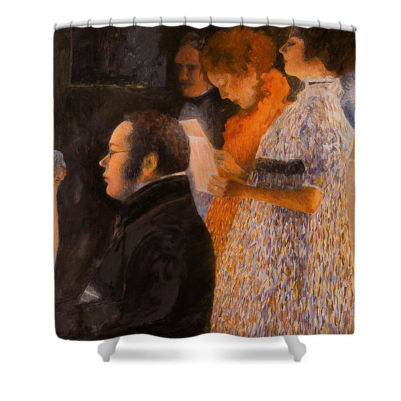 Schubert Shower Curtain featuring the painting Schubert At The Piano - After Klimt by Don Perino