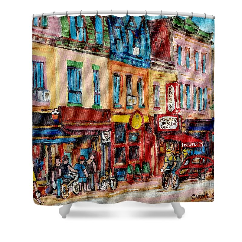 Schwartz Deli Shower Curtain featuring the painting Schwartzs Deli And Warshaw Fruit Store Montreal Landmarks On St Lawrence Street by Carole Spandau