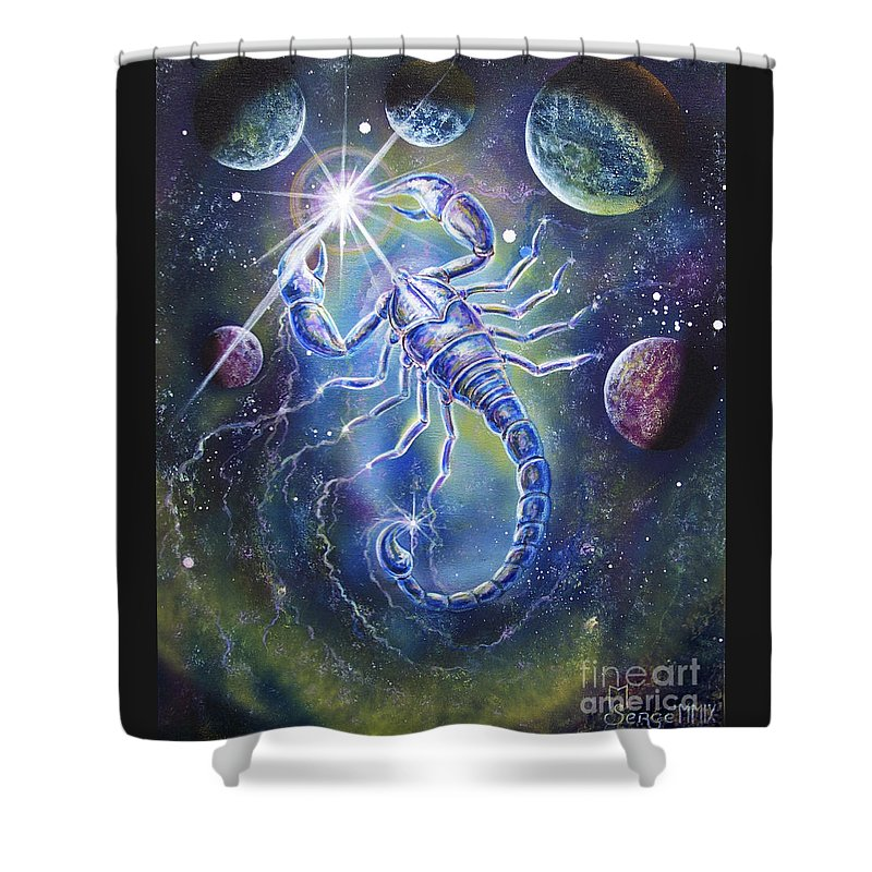 Scorpion Shower Curtain featuring the painting Scorpio by Sergey Malkov