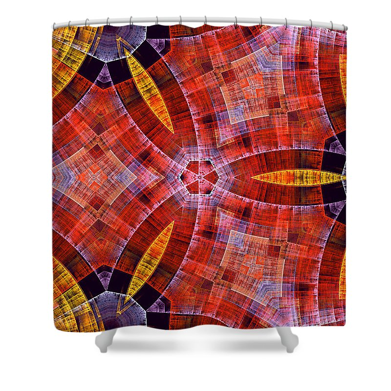 Scottish Art Scottland Texture Color Colorful Abstract Yellow Red Checkered Expressionism Impressionism Fractal Shower Curtain featuring the digital art Scottish by Steve K