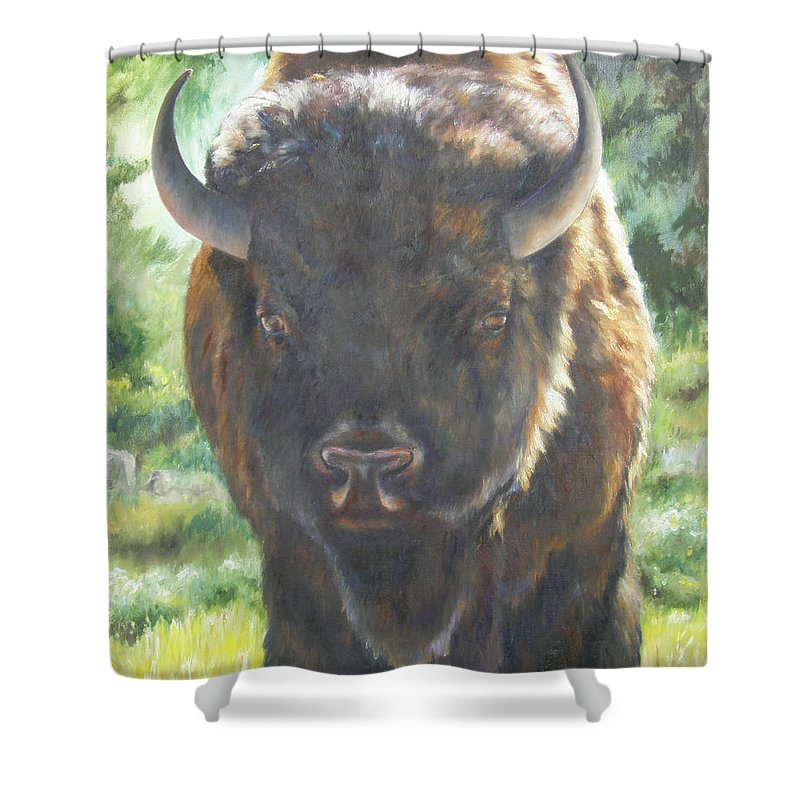 Lori Brackett Shower Curtain featuring the painting Scout by Lori Brackett