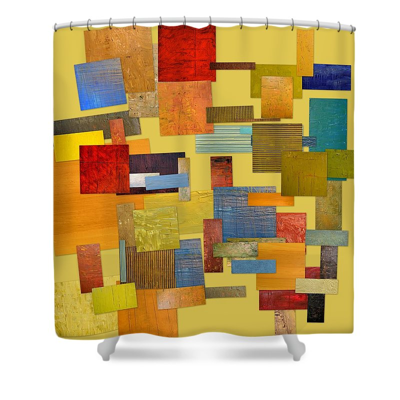 Textural Shower Curtain featuring the painting Scrambled Eggs Lll by Michelle Calkins