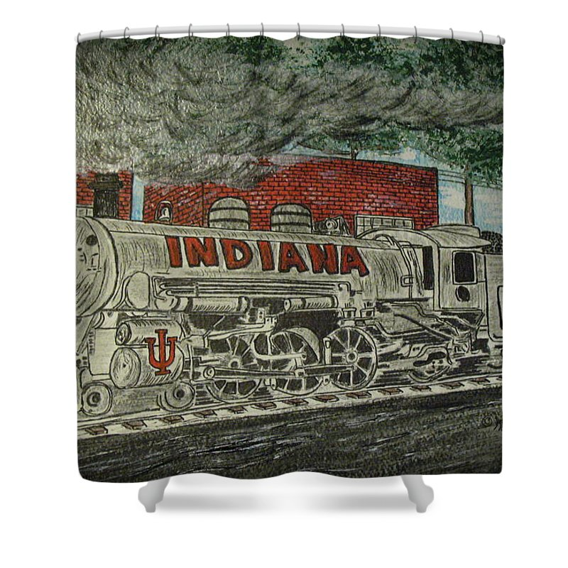 Scrapping Hoosiers Shower Curtain featuring the painting Scrapping Hoosiers Indiana Monon Train by Kathy Marrs Chandler