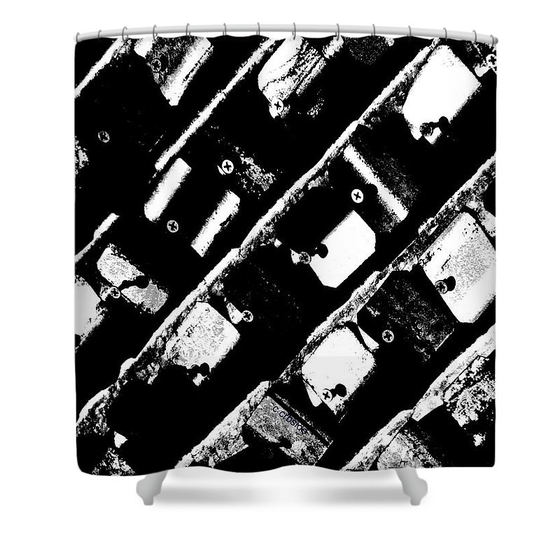 Urban Shower Curtain featuring the photograph Screwed Metal Tab Abstract by Chris Berry