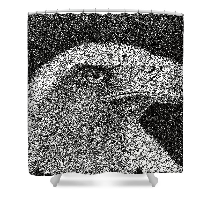 Scribble Shower Curtain featuring the drawing Scribble Eagle by Nathan Shegrud