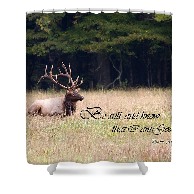 Scripture Photo With Elk Sitting Shower Curtain For Sale By Jill Lang
