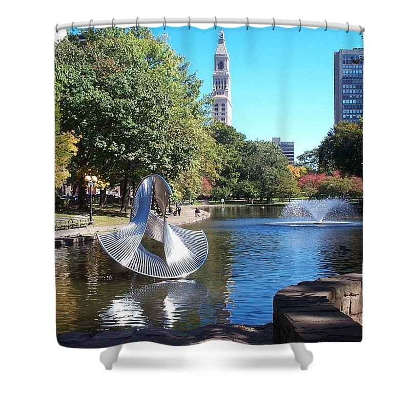 bushnell Park Shower Curtain featuring the photograph Sculpture Hartford by Barbara McDevitt