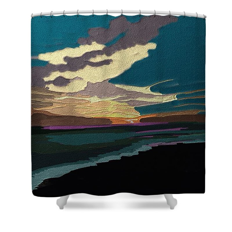 Sky Shower Curtain featuring the painting Sea And Sky In Colour by Karen Harding