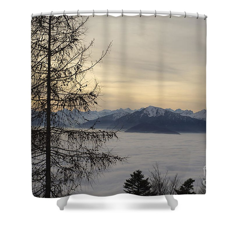 Sea Of Fog Shower Curtain featuring the photograph Sea Of Fog In Sunset by Mats Silvan