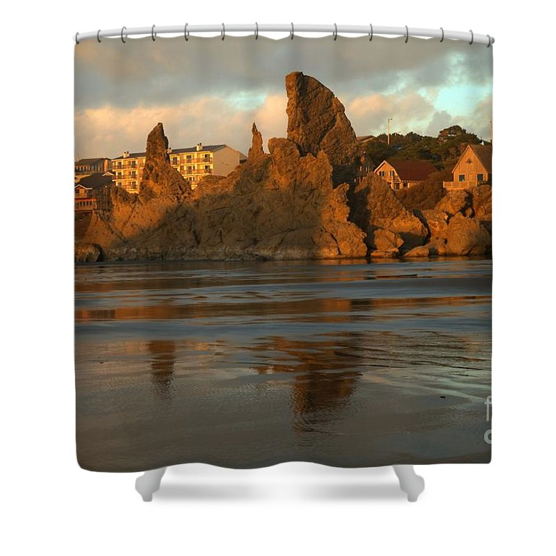 Bandon Beach Shower Curtain featuring the photograph Sea Stacks And The City by Adam Jewell