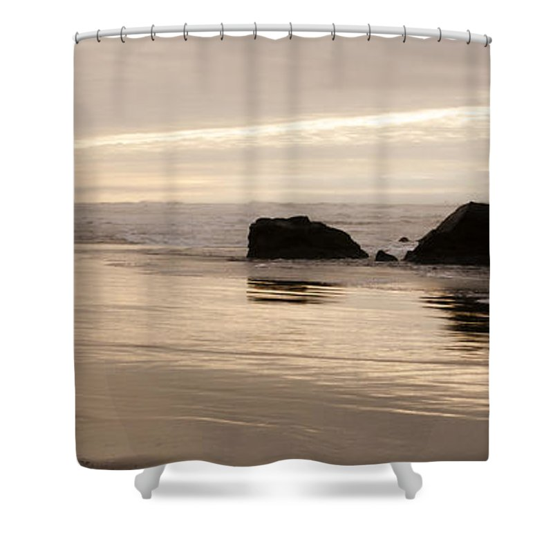 Sunset Shower Curtain featuring the photograph Sea Stacks Panorama by Vivian Christopher