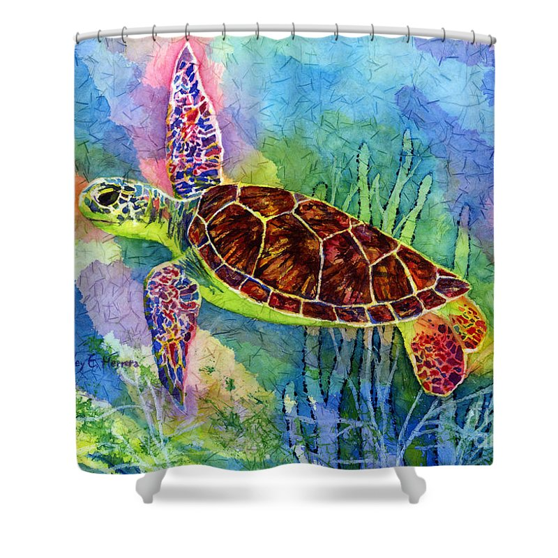 Turtle Shower Curtain featuring the painting Sea Turtle by Hailey E Herrera