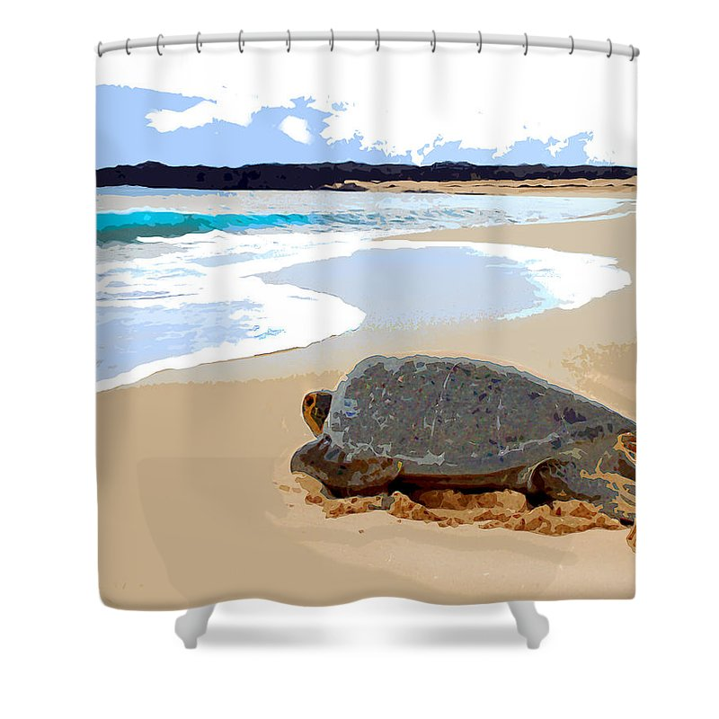 Turtle Sea+turtle Tortoise Amphibian Animal Reptile Ocean Sea Sand Beach Island Tropics Tropical Shower Curtain featuring the painting Sea Turtle Triathalon Start by Elaine Plesser