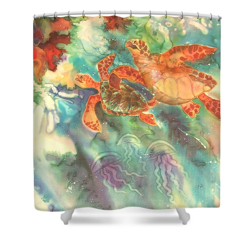 Turtles Shower Curtain featuring the painting Sea Turtles by Deborah Younglao