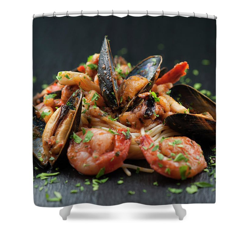 Prawn Shower Curtain featuring the photograph Seafood Pasta by Cbording