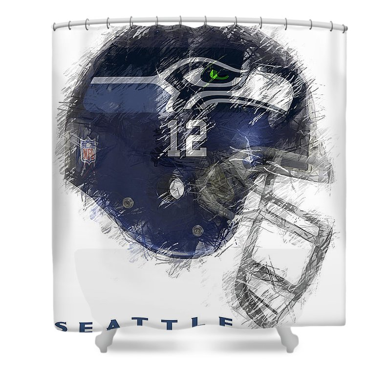 Seahawks Shower Curtain Featuring The Digital Art 12 By Daniel Hagerman