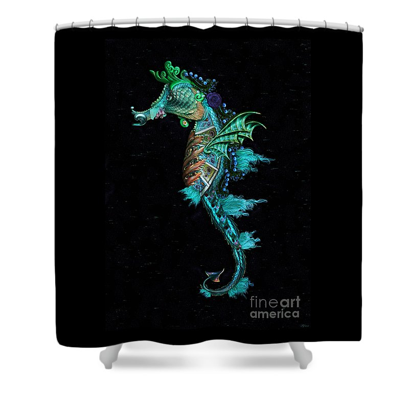 Seahorse Shower Curtain featuring the digital art Seahorse by Lynn Jackson