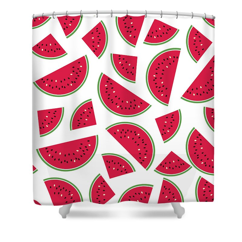 Art Shower Curtain featuring the digital art Seamless Colorful Pattern With Red by Ekaterina Bedoeva