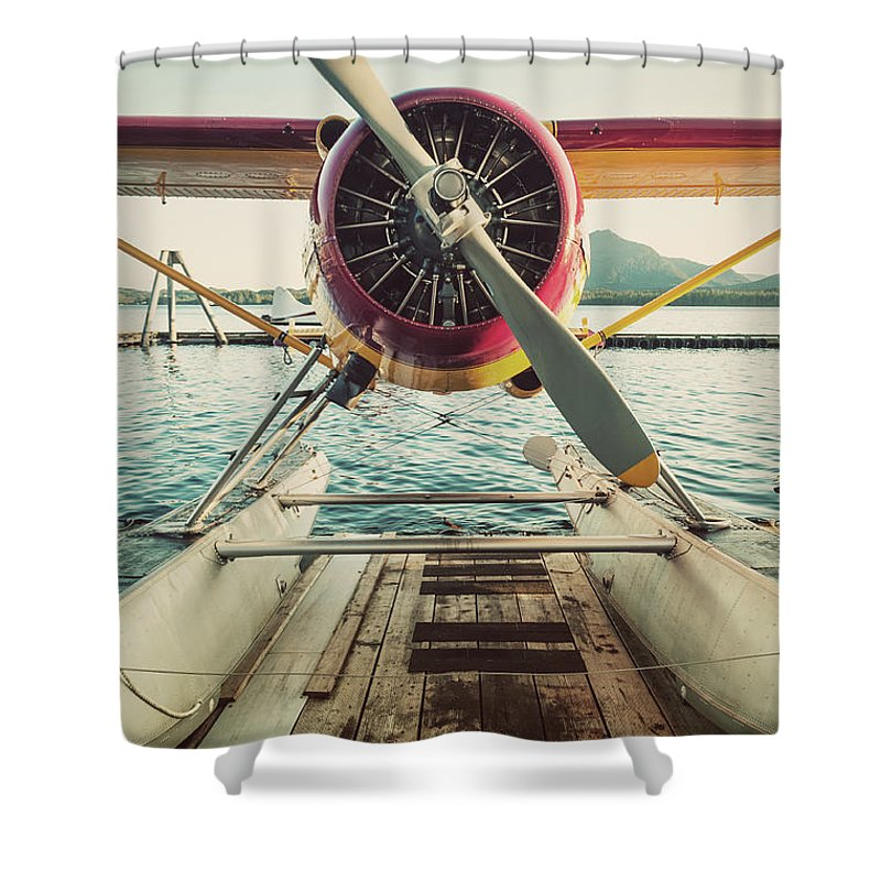 Propeller Shower Curtain featuring the photograph Seaplane Dock by Shaunl