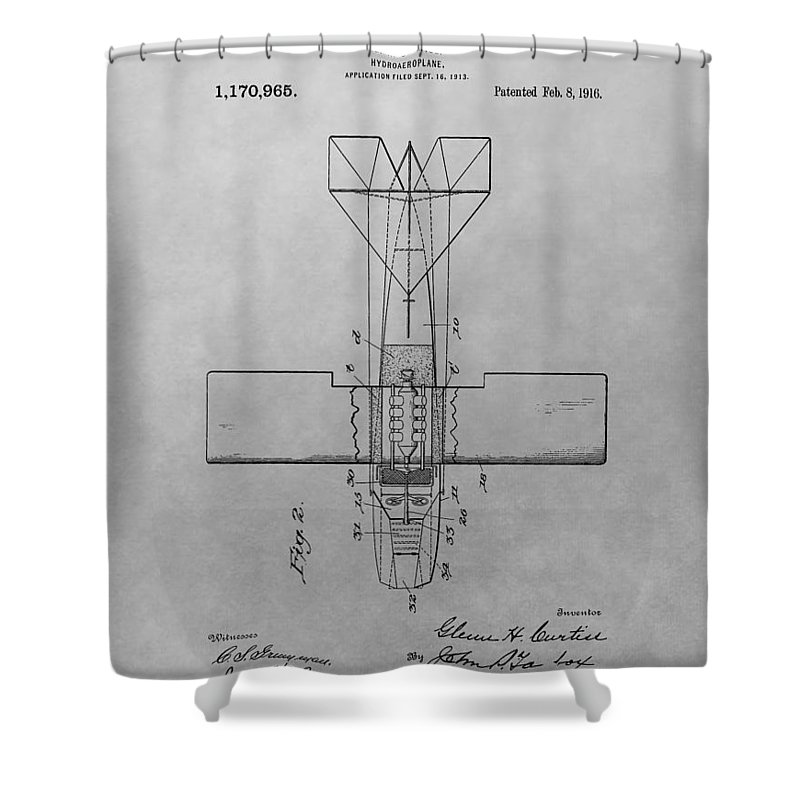 Seaplane Patent Drawing Shower Curtain featuring the drawing Seaplane Patent Drawing by Dan Sproul