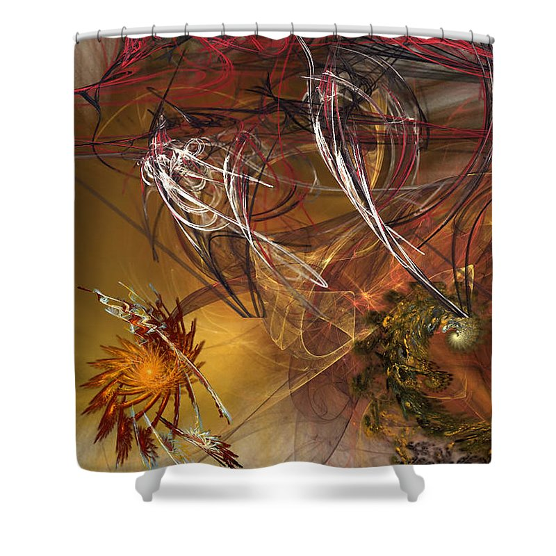 Fractal Shower Curtain featuring the digital art Searching by Donna Walsh