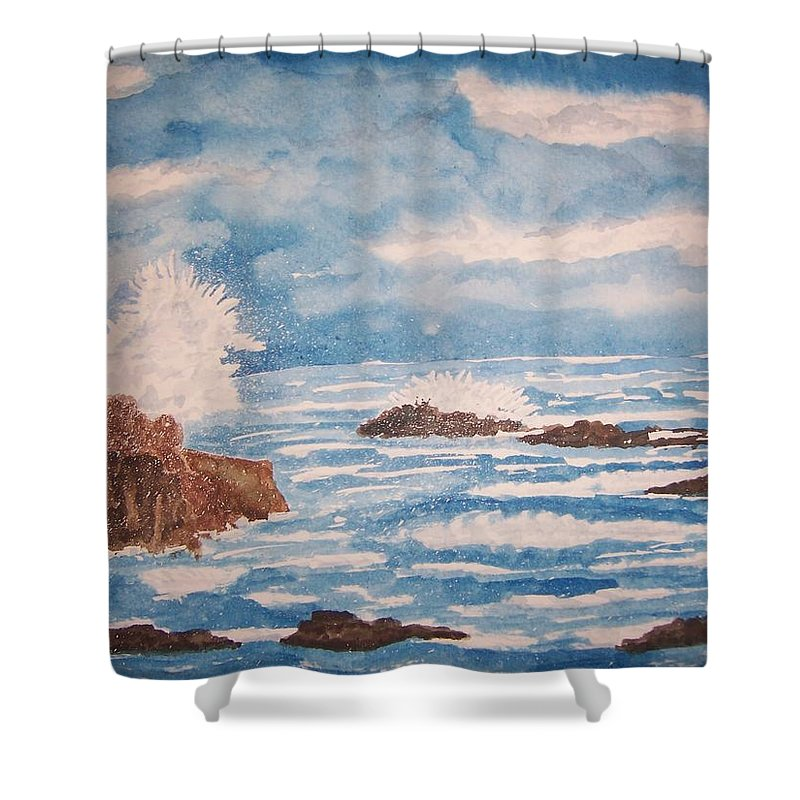 Nature Shower Curtain featuring the painting Seascape Six by B Kathleen Fannin