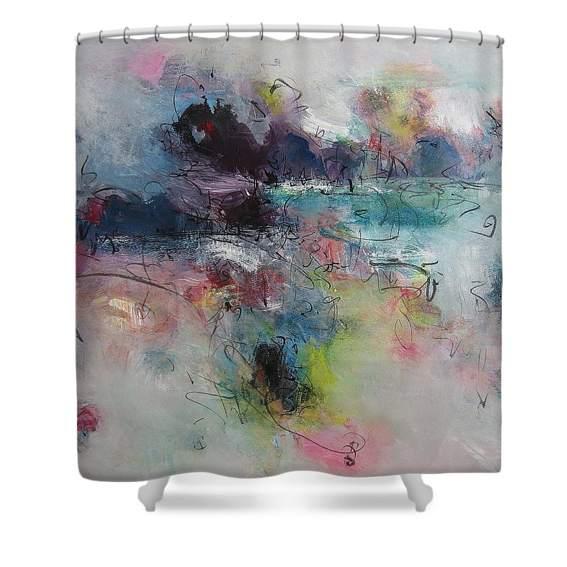 Green Purple Paintings Shower Curtain featuring the painting Seascape00031 by Seon-Jeong Kim
