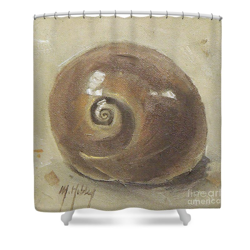 Doodlefly Shower Curtain featuring the painting Seashell Beach Moon Shell Snail by Mary Hubley