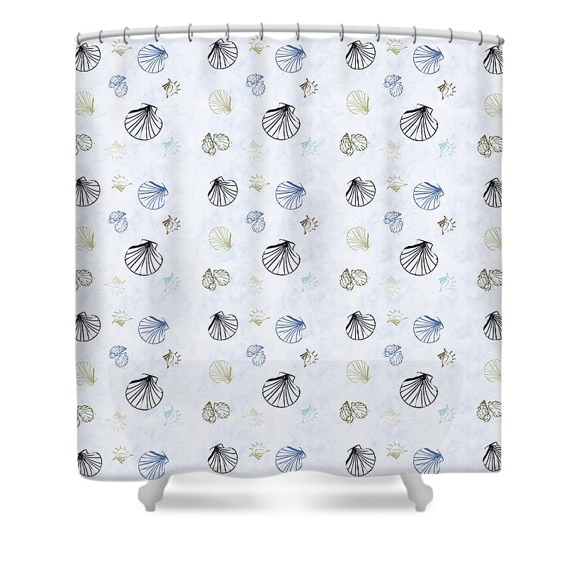 Seashell Shower Curtain featuring the mixed media Seashell Pattern by Christina Rollo