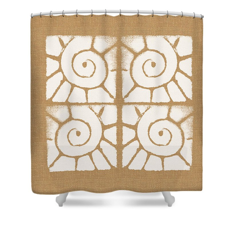 Abstract Pattern Shower Curtain featuring the painting Seashell Tiles by Linda Woods