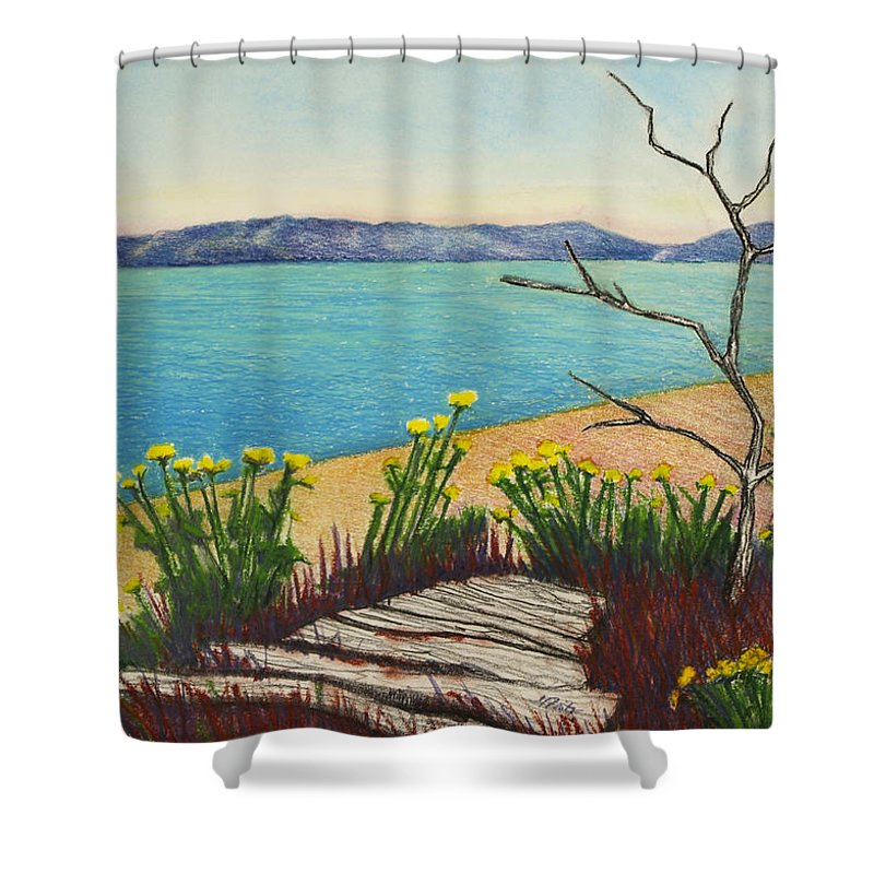 Vashon Island Shower Curtain featuring the pastel Seaside Island Beach With Flowers by Michele Fritz