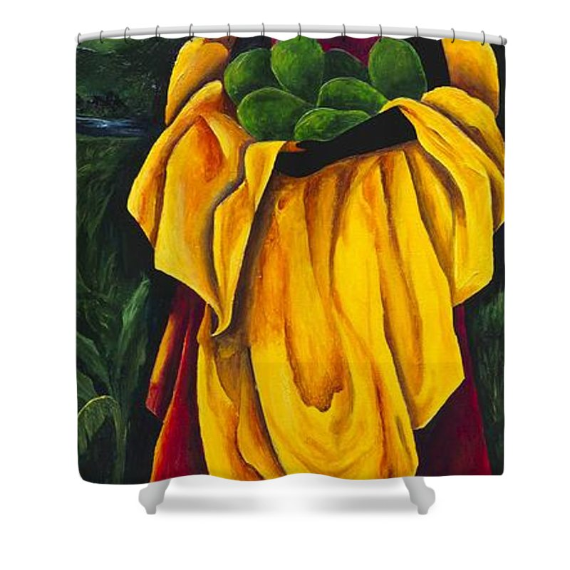 Scarf Shower Curtain featuring the painting Season Avocado by Patricia Brintle